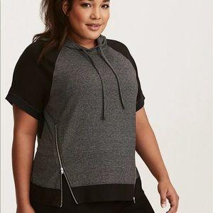 Torrid Active Pullover Short Sleeve Zip Hoodie
